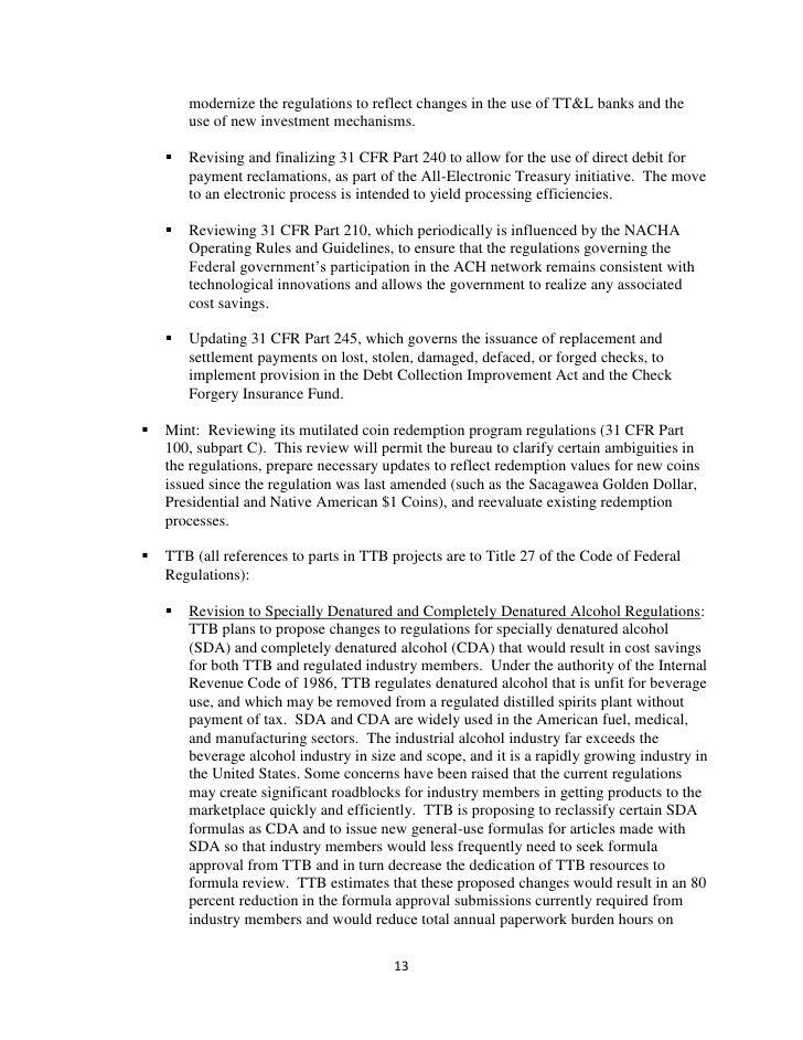 Department of the Treasury Preliminary Regulatory Reform Plan