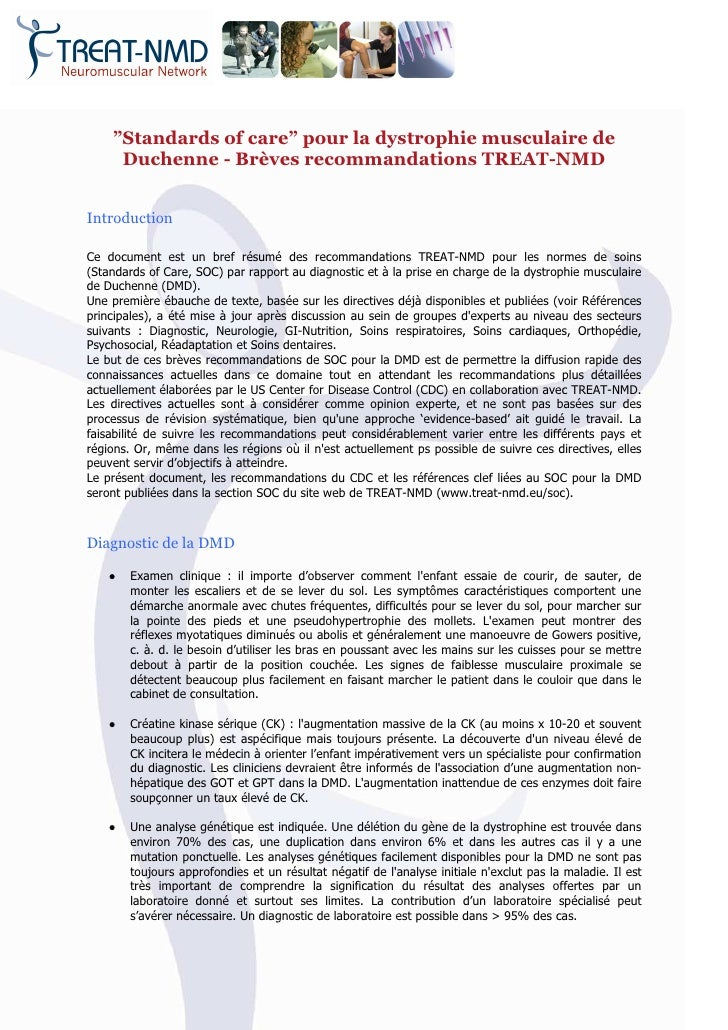 """Standards of care"" pour la dystrophie musculaire de     Duchenne - Brèves recommandations TREAT-NMDIntroductionCe documen..."