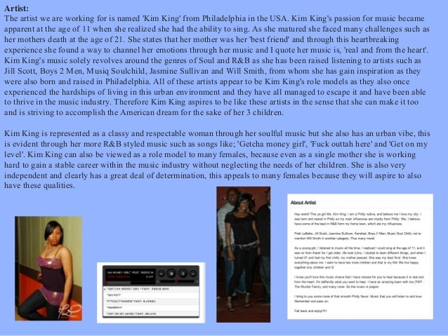 Artist: The artist we are working for is named 'Kim King' from Philadelphia in the USA. Kim King's passion for music becam...