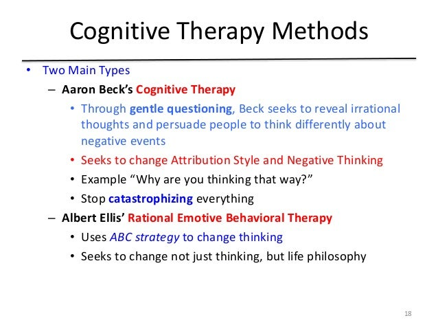 Cognitive therapy versus existential psychotherapy