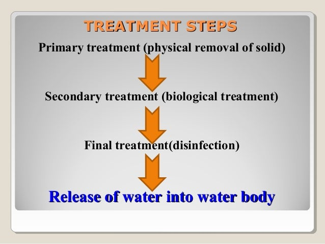  Primary treatmentRemoval of solids, passing through screen, filters,floatation/sedimentation, grit chamber etc.Results: ...