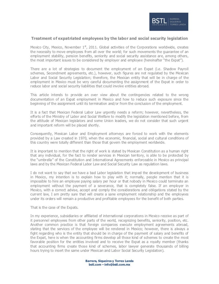Treatment of expatriated employees by the labor and social security legislationMexico City, Mexico, November 1st, 2011. Gl...