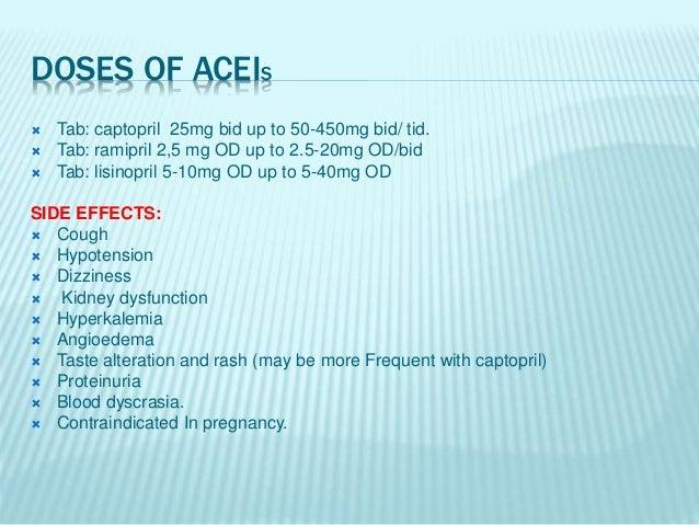AIIRBS  Tab: losartan 50mg OD up to 25-100mg OD/bid.  Tab: valsartan 80 mg OD up to 80-320mg OD. SIDE EFFECTS:  Hyperka...