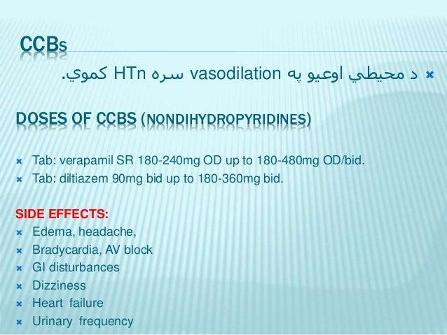 CCBS په اوعیو محیطي دvasodilationسرهHTnکموي. DOSES OF CCBS (DIHYDROPYRIDINES)  Tab: Amlodipine 2.5mg OD upto...