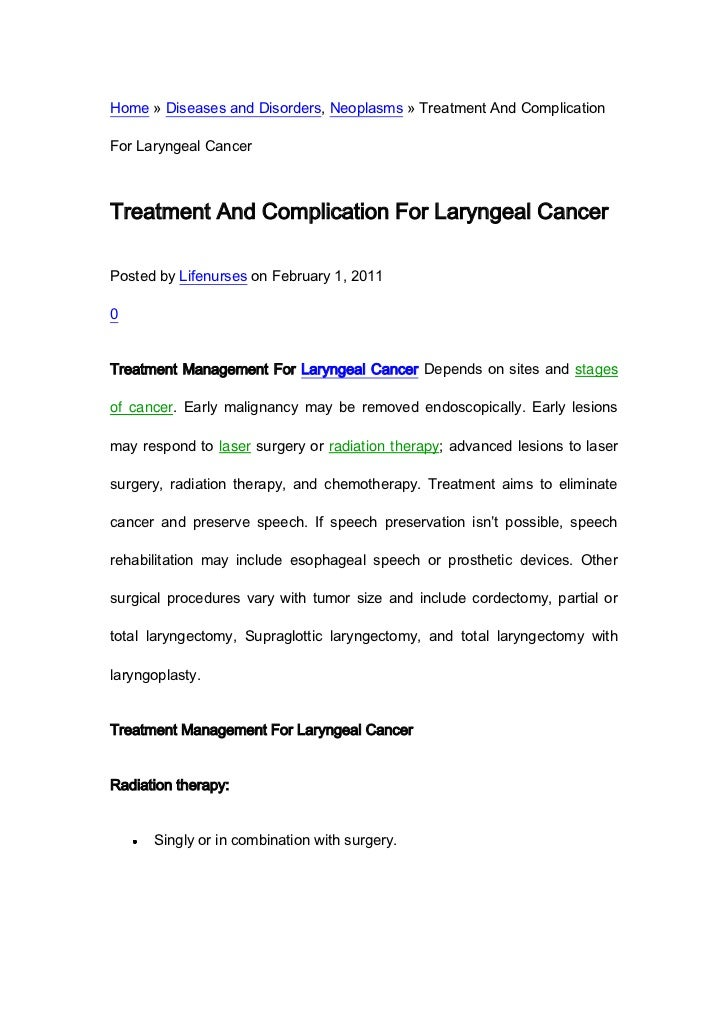Home » Diseases and Disorders, Neoplasms » Treatment And ComplicationFor Laryngeal CancerTreatment And Complication For La...
