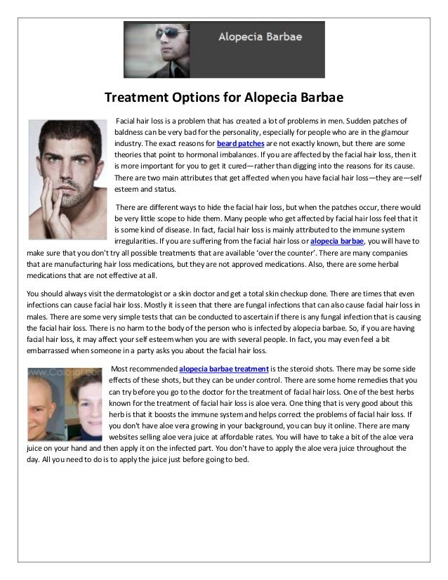 Treatment options and facial hair