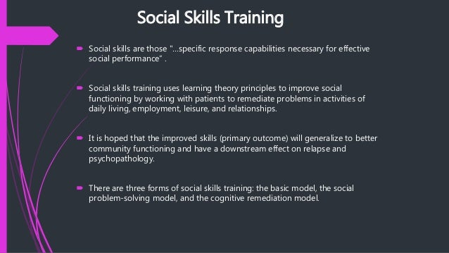 social skills training for schizophrenia pdf