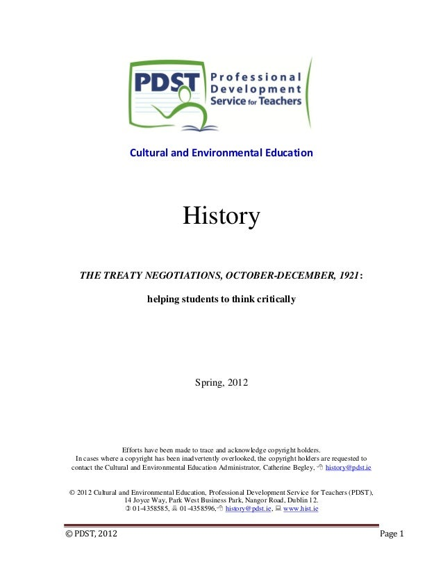 © PDST, 2012 Page 1 Cultural and Environmental Education History THE TREATY NEGOTIATIONS, OCTOBER-DECEMBER, 1921: helping ...