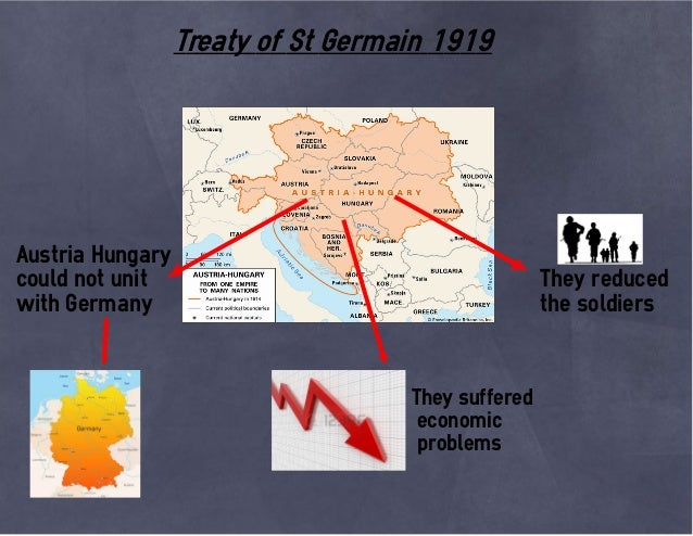 They reduced the soldiers They suffered economic problems Treaty of St Germain 1919 Austria Hungary could not unit with Ge...