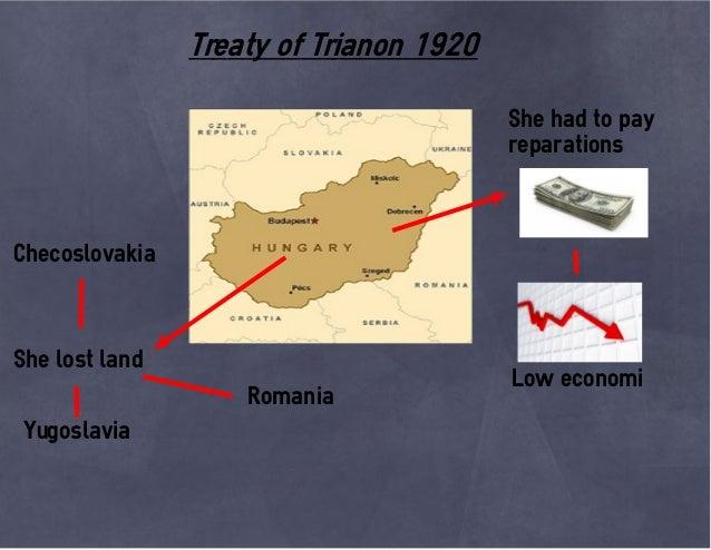 Treaty of Trianon 1920 She had to pay reparations Low economi She lost land Romania Checoslovakia Yugoslavia