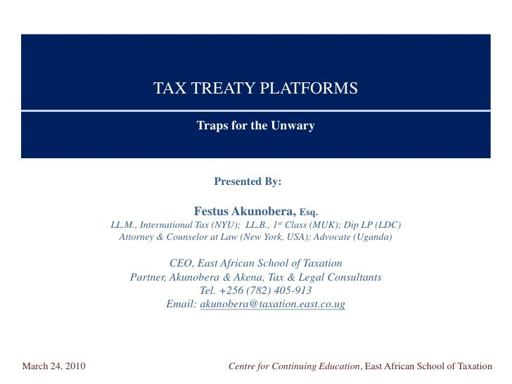 TAX TREATY PLATFORMS                                       Traps for the Unwary                                           ...