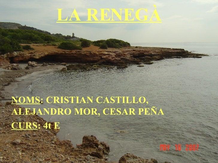 LA RENEGÀ NOMS : CRISTIAN CASTILLO, ALEJANDRO MOR, CESAR PEÑA CURS : 4t E