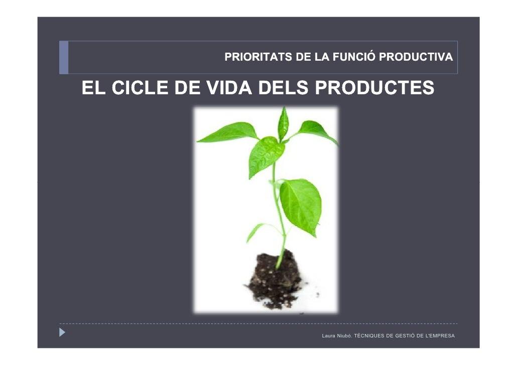 PRIORITATS DE LA FUNCIÓ PRODUCTIVA EL CICLE DE VIDA DELS PRODUCTES                               Laura Niubó. TÈCNIQUES DE...