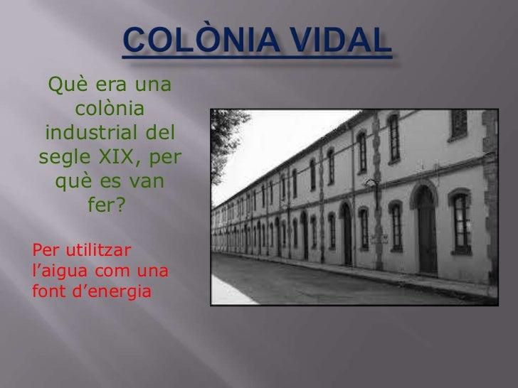 Què era una    colònia industrial delsegle XIX, per  què es van     fer?Per utilitzarl'aigua com unafont d'energia