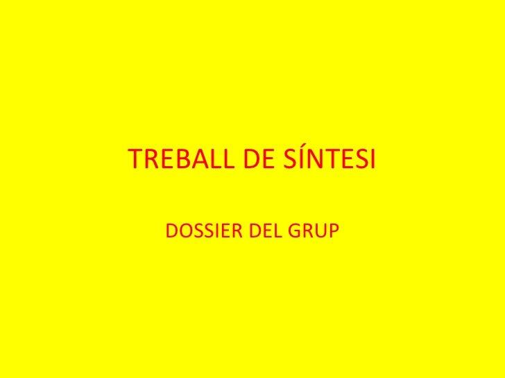 TREBALL DE SÍNTESI  DOSSIER DEL GRUP