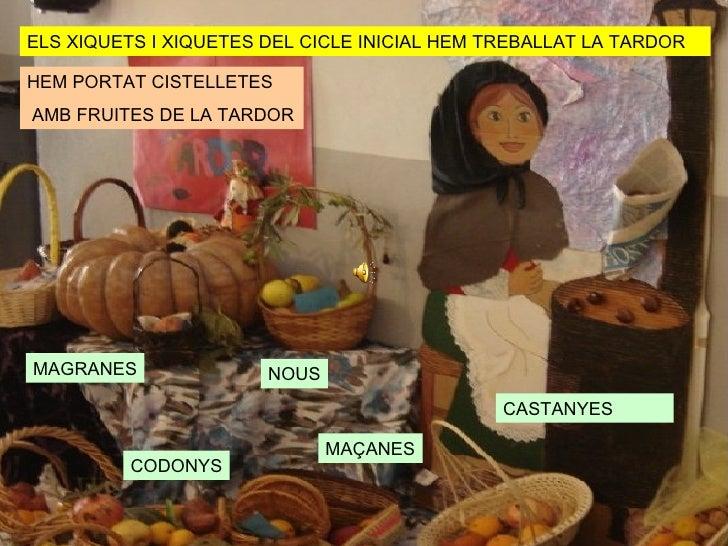 ELS XIQUETS I XIQUETES DEL CICLE INICIAL HEM TREBALLAT LA TARDOR HEM PORTAT CISTELLETES AMB FRUITES DE LA TARDOR CASTANYES...