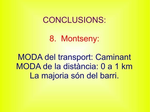 CONCLUSIONS: 8. Montseny: MODA del transport: Caminant MODA de la distància: 0 a 1 km La majoria són del barri.