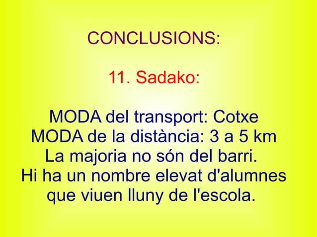 CONCLUSIONS: 11. Sadako: MODA del transport: Cotxe MODA de la distància: 3 a 5 km La majoria no són del barri. Hi ha un no...