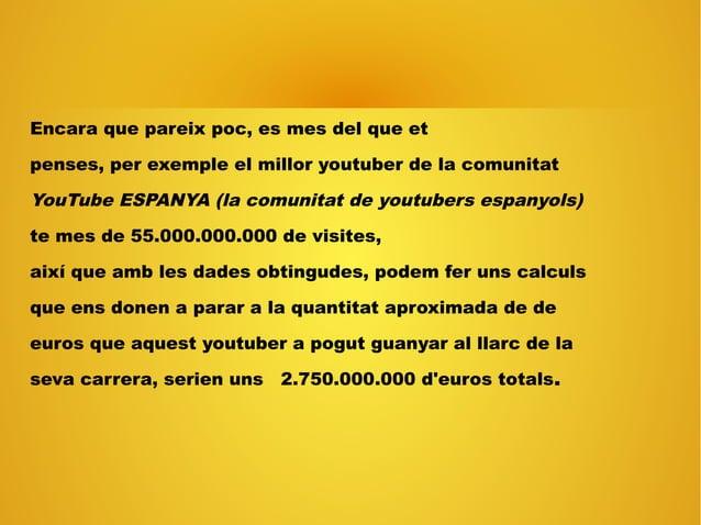 Encara que pareix poc, es mes del que et penses, per exemple el millor youtuber de la comunitat YouTube ESPANYA (la comuni...