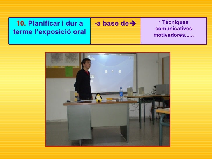 <ul><li>Tècniques comunicatives motivadores...... </li></ul>-a base de  10.  Planificar i dur a terme l'exposició oral
