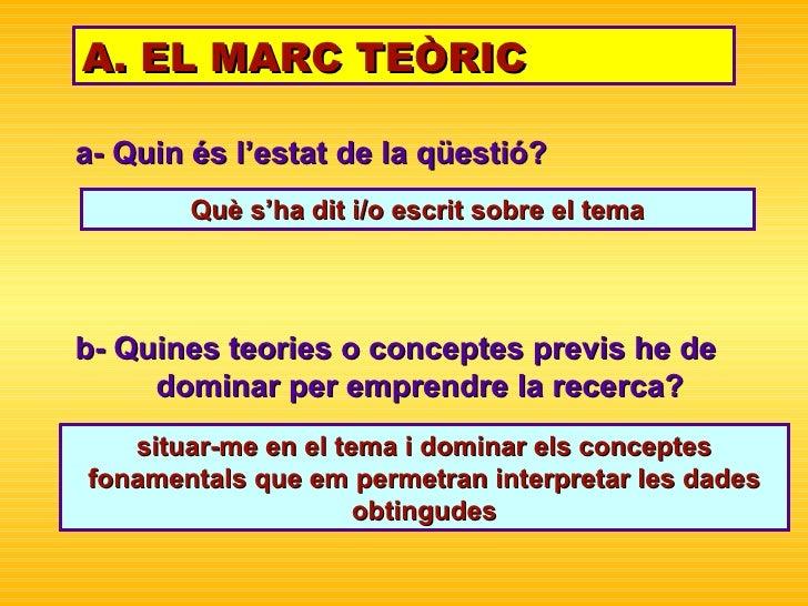 a- Quin és l'estat de la qüestió? A. EL MARC TEÒRIC situar-me en el tema i dominar els conceptes fonamentals que em permet...