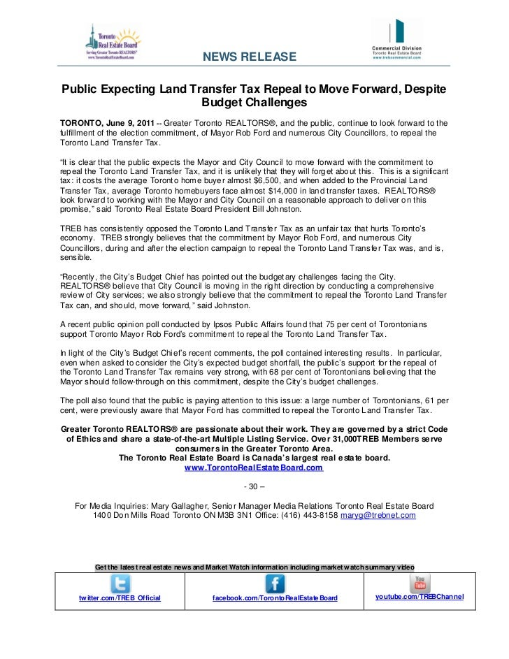 NEWS RELEASEPublic Expecting Land Transfer Tax Repeal to Move Forward, Despite                        Budget ChallengesTOR...