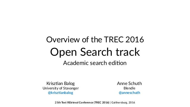 Overview of the TREC 2016 