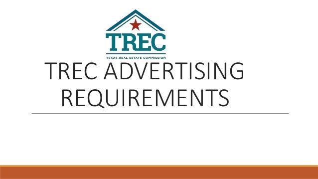 TREC ADVERTISING REQUIREMENTS