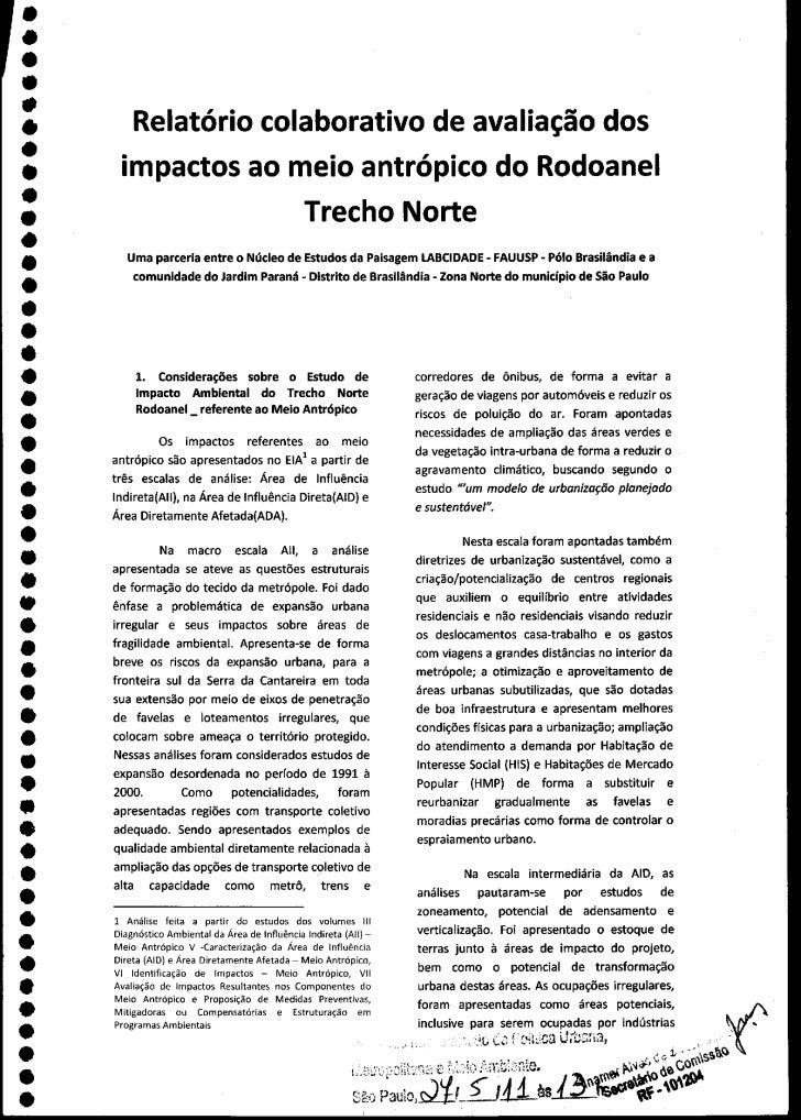 Relatório do Trecho Norte do Rodoanel feito peal FAUUSP