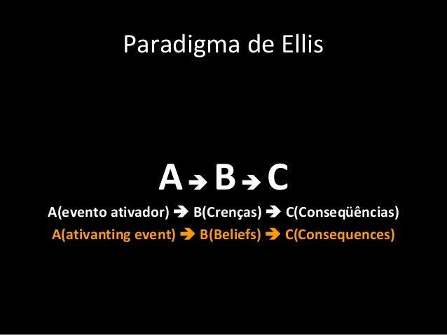 Paradigma de Ellis A B C A(evento ativador)  B(Crenças)  C(Conseqüências) A(ativanting event)  B(Beliefs)  C(Consequ...