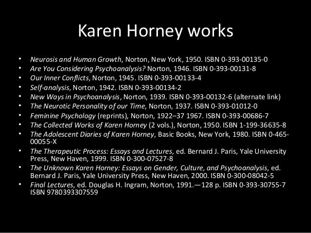 Karen Horney works • Neurosis and Human Growth, Norton, New York, 1950. ISBN 0-393-00135-0 • Are You Considering Psychoana...
