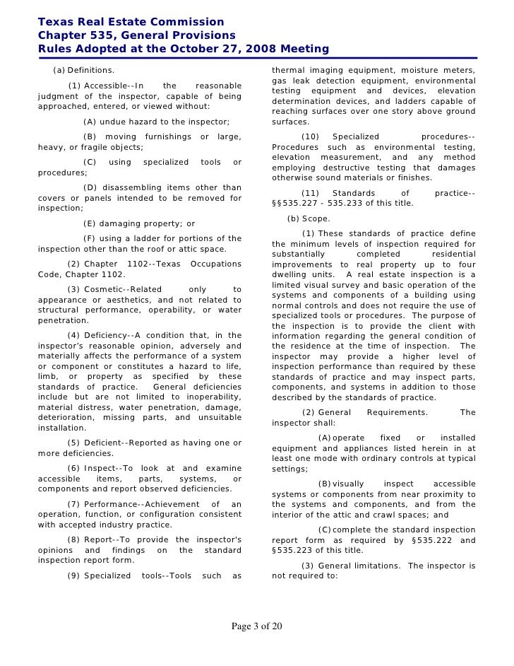 Texas Real Estate CommissionChapter 535, General ProvisionsRules Adopted at the October 27, 2008 Meeting   (a) Definitions...