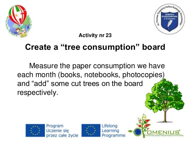 "Activity nr 23 Create a ""tree consumption"" board Measure the paper consumption we have each month (books, notebooks, photo..."