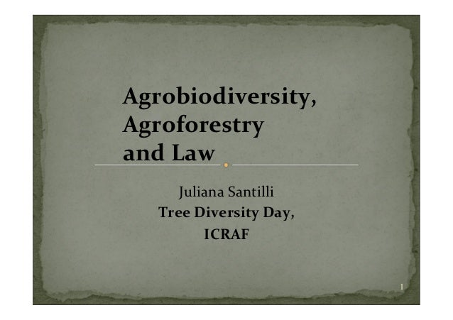 Agrobiodiversity,            Agroforestry       and Law                 Juliana San...