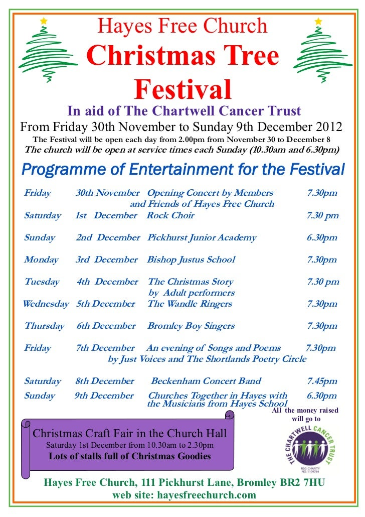 Hayes Free Church               Christmas Tree                  Festival           In aid of The Chartwell Cancer TrustFro...