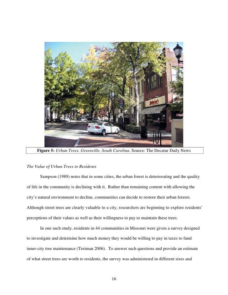 Figure 5: Urban Trees. Greenville, South Carolina. Source: The Decatur Daily NewsThe Value of Urban Trees to Residents    ...