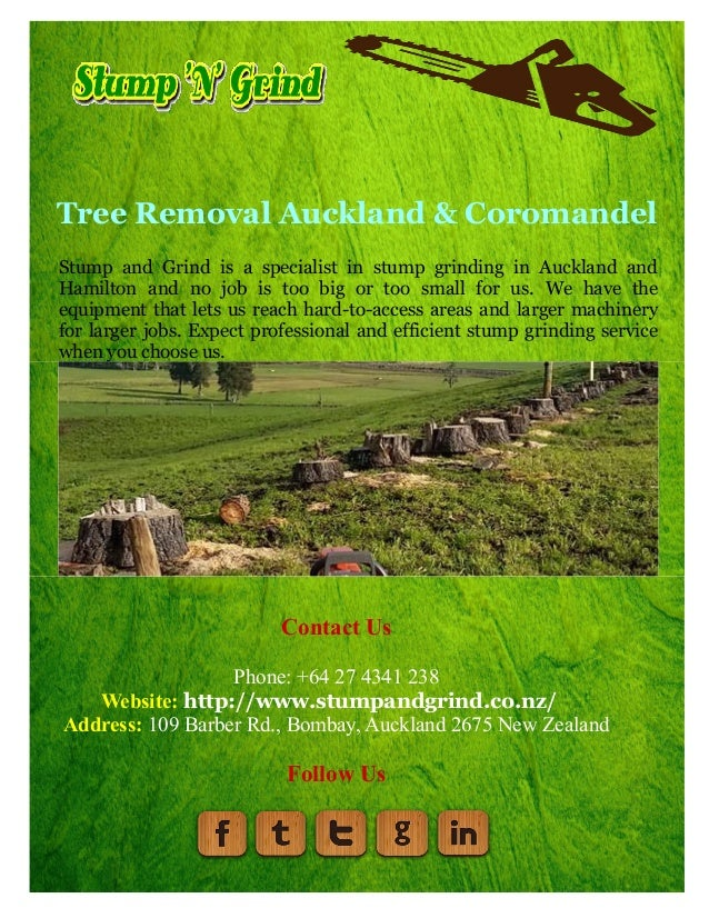 Tree Removal Auckland & Coromandel Stump and Grind is a specialist in stump grinding in Auckland and Hamilton and no job i...