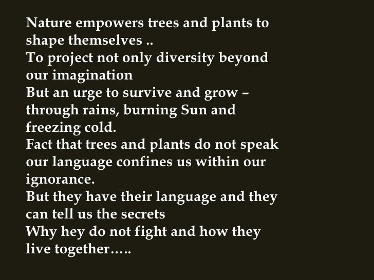 Nature empowers trees and plants to shape themselves .. To project not only diversity beyond our imagination  But an urge ...