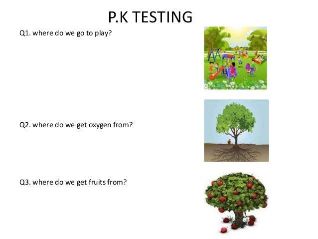 P.K TESTING Q1. where do we go to play? Q2. where do we get oxygen from? Q3. where do we get fruits from?