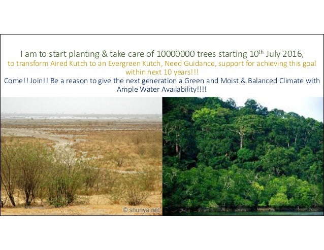 I am to start planting & take care of 10000000 trees starting 10th July 2016, to transform Aired Kutch to an Evergreen Kut...