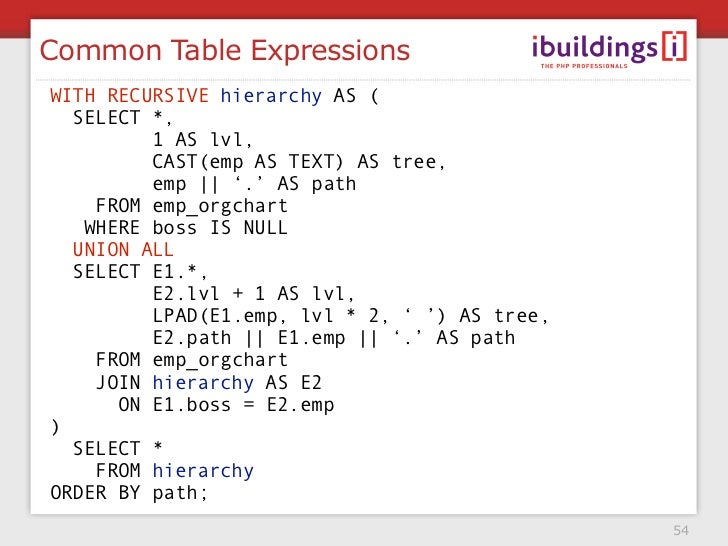 Common Table Expressions WITH RECURSIVE hierarchy AS (   SELECT *,          1 AS lvl,          CAST(emp AS TEXT) AS tree, ...