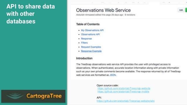 API to share data with other databases Open source code: https://github.com/statonlab/Treesnap-website https://github.com/...