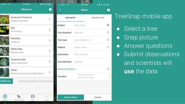 TreeSnap mobile app ● Select a tree ● Snap picture ● Answer questions ● Submit observations and scientists will use the da...