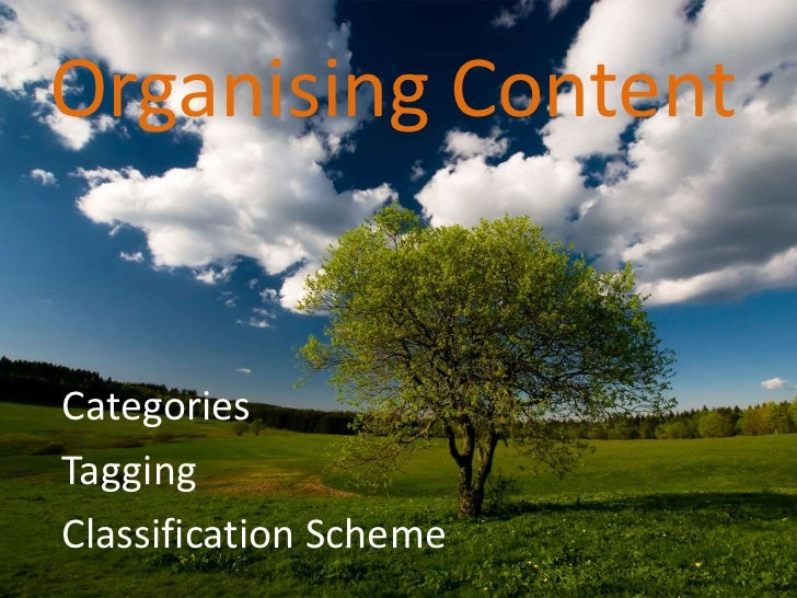 Organising Content<br />Categories <br />Tagging <br />Classification Scheme<br />