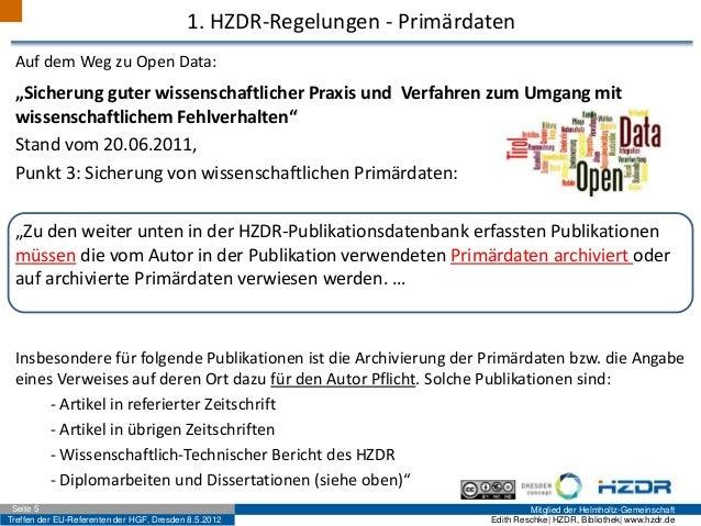Treffen der EU-Referenten der HGF, Dresden 8.5.2012 Mitglied der Helmholtz-GemeinschaftSeite 5 Edith Reschke| HZDR, Biblio...