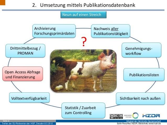 Treffen der EU-Referenten der HGF, Dresden 8.5.2012 Mitglied der Helmholtz-GemeinschaftSeite 6 Edith Reschke| HZDR, Biblio...