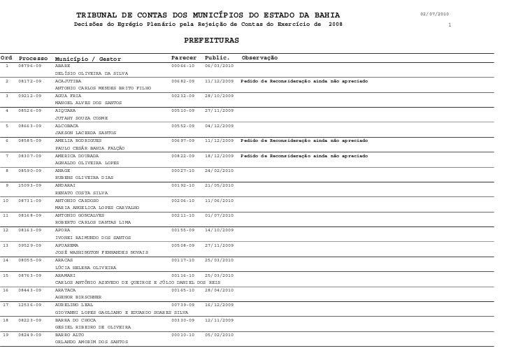 TRIBUNAL DE CONTAS DOS MUNICÍPIOS DO ESTADO DA BAHIA                                                 02/07/2010           ...