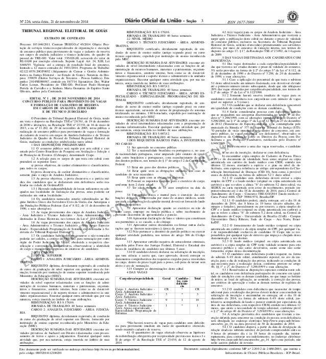 Nº 226, sexta-feira, 21 de novembro de 2014 ISSN 1677-7069 201  EXEMPLAR DE ASSINANTE DA IMPRENSA NACIONAL  Este documento...