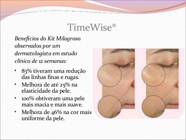 TimeWise®Benefícios do Kit Milagrosoobservados por umdermatologista em estudoclínico de 12 semanas:• 83% tiveram uma reduç...