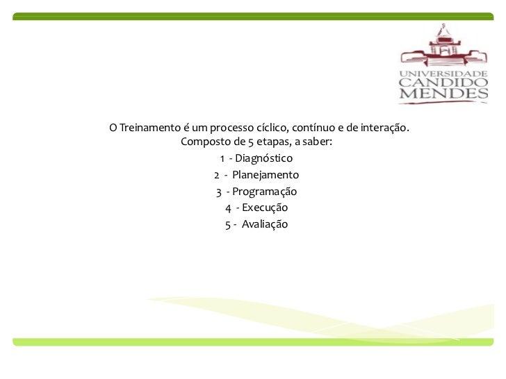Processo do Treinamento O Treinamento é um processo cíclico, contínuo e de interação. Composto de 5 etapas, a saber: 1  - ...